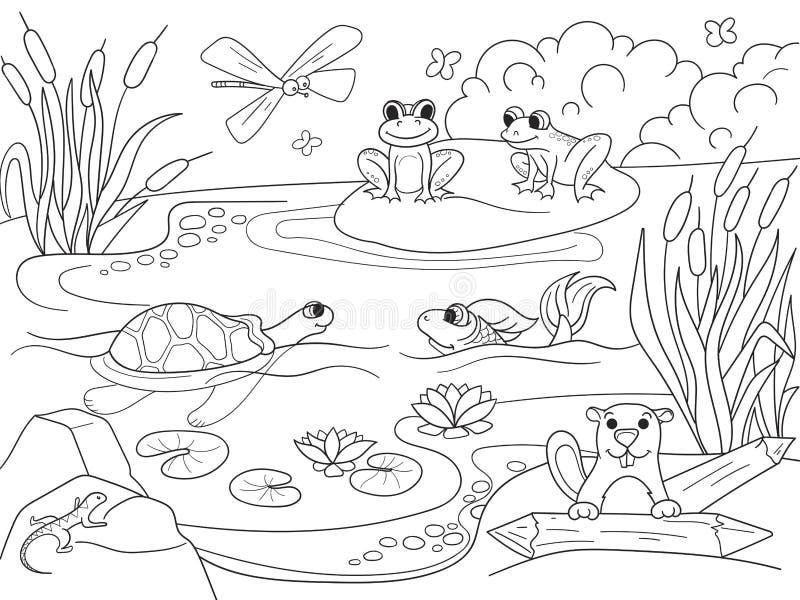 Τοπίο υγρότοπου με τα ζώα που χρωματίζει το διάνυσμα για τους ενηλίκους απεικόνιση αποθεμάτων