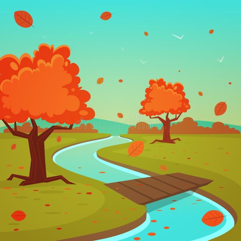 Τοπίο φθινοπώρου κινούμενων σχεδίων διανυσματική απεικόνιση