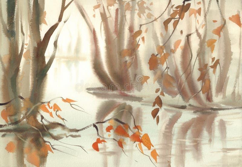 Τοπίο φθινοπώρου με τα δέντρα κάτω από τη λίμνη Watercolor της Misty διανυσματική απεικόνιση