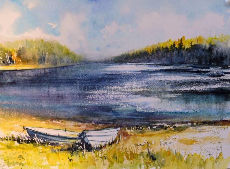 Τοπίο φθινοπώρου με τα watercolors βαρκών που χρωματίζεται απεικόνιση αποθεμάτων