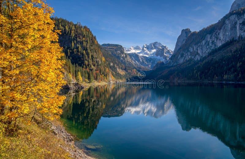 Τοπίο φθινοπώρου με το βουνό Dachstein σε όμορφο Gosausee, Salzkammergut, Αυστρία στοκ εικόνες