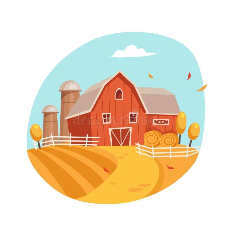 Τοπίο φθινοπώρου με το σπίτι και τη σιταποθήκη στον τομέα, το αγρόκτημα και την καλλιέργεια σχετική απεικόνιση στο φωτεινό ύφος κ απεικόνιση αποθεμάτων