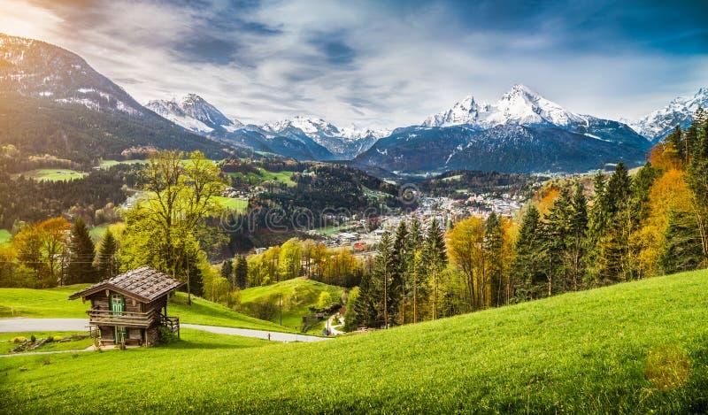 Τοπίο φθινοπώρου στις βαυαρικές Άλπεις, Berchtesgaden, Γερμανία στοκ εικόνες με δικαίωμα ελεύθερης χρήσης