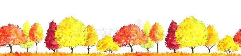 Τοπίο φθινοπώρου Watercolor με τα δέντρα ελεύθερη απεικόνιση δικαιώματος