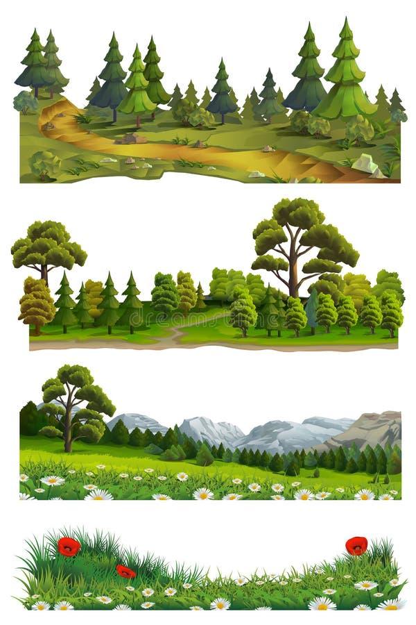 Τοπίο φύσης, διανυσματικό σύνολο διανυσματική απεικόνιση