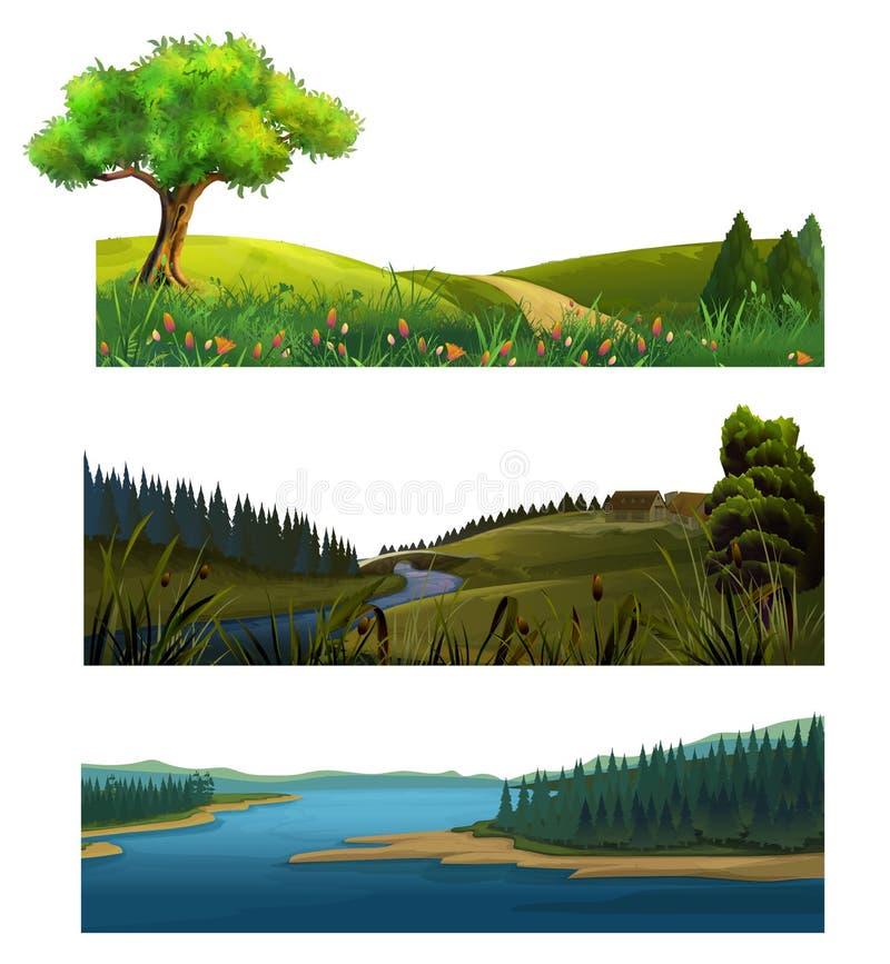 Τοπίο φύσης, διανυσματικό σύνολο απεικόνιση αποθεμάτων