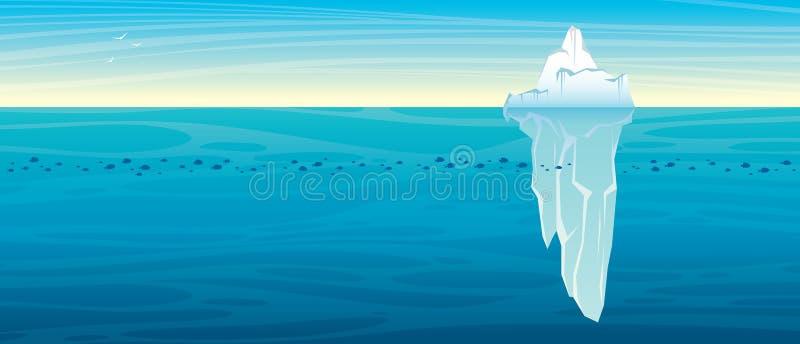 Τοπίο φύσης με το παγόβουνο ο τρισδιάστατος ωκεανός δίνει τον ουρανό σκηνής ελεύθερη απεικόνιση δικαιώματος