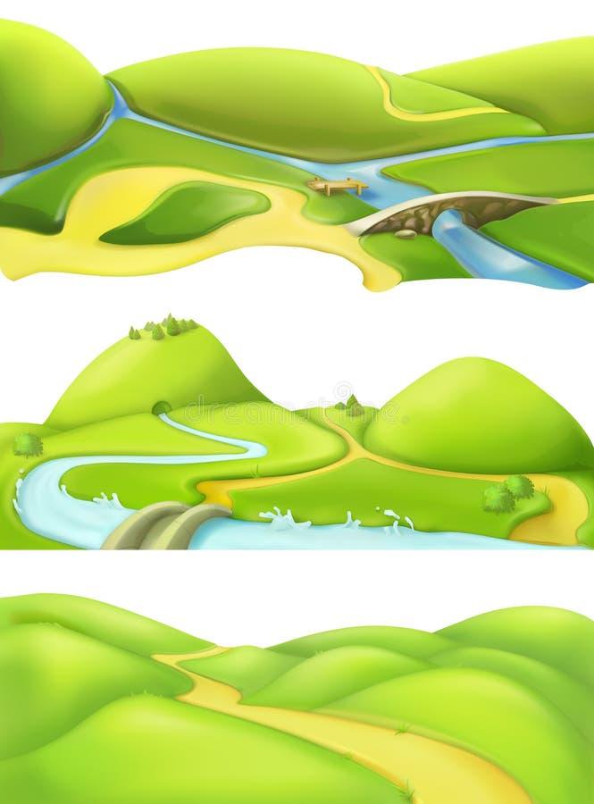 Τοπίο φύσης, υπόβαθρα παιχνιδιών κινούμενων σχεδίων απεικόνιση αποθεμάτων