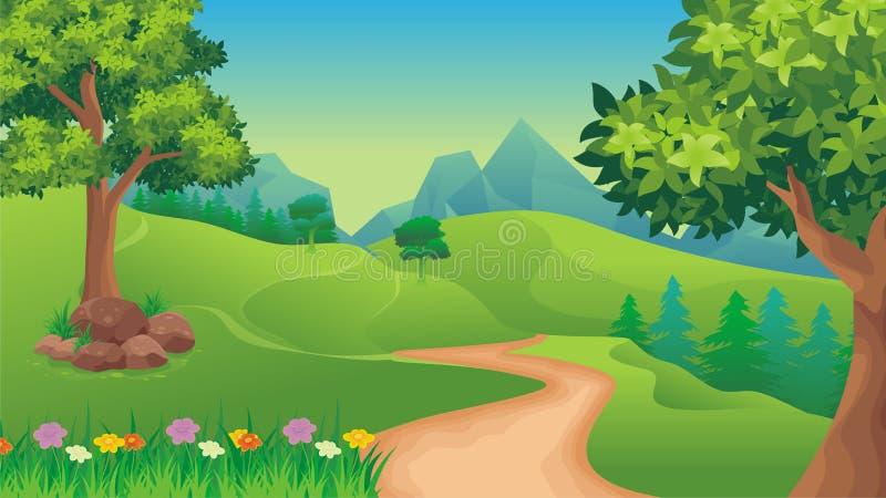 Τοπίο φύσης, υπόβαθρο παιχνιδιών κινούμενων σχεδίων διανυσματική απεικόνιση