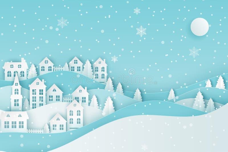 Τοπίο χειμερινής αστικό επαρχίας, χωριό με το χαριτωμένο hous εγγράφου απεικόνιση αποθεμάτων