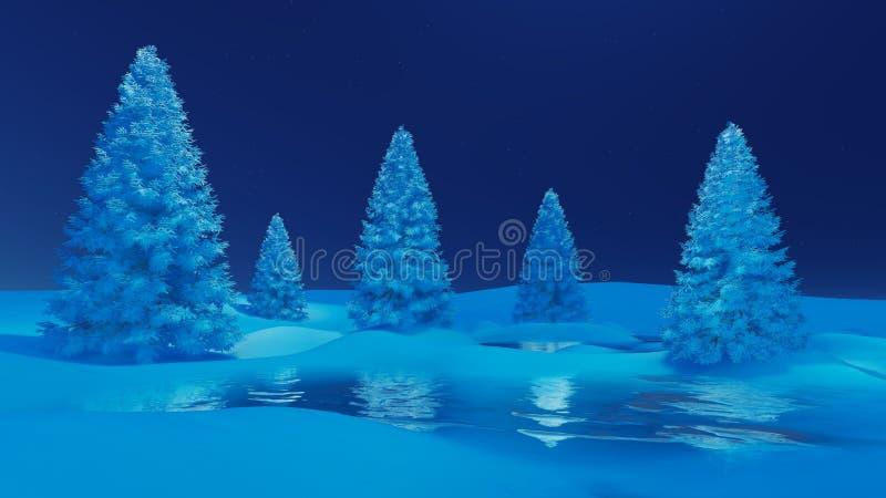 Τοπίο χειμερινής νύχτας με τα έλατα και την παγωμένη λίμνη ελεύθερη απεικόνιση δικαιώματος