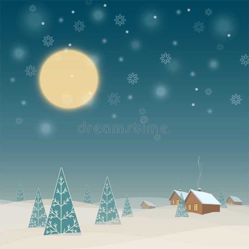 Τοπίο χειμερινής νύχτας με τα σπίτια και τα δέντρα απεικόνιση αποθεμάτων