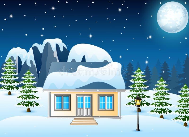 Τοπίο χειμερινής νύχτας με το χιονισμένο σπίτι και τους χιονώδεις βράχους απεικόνιση αποθεμάτων