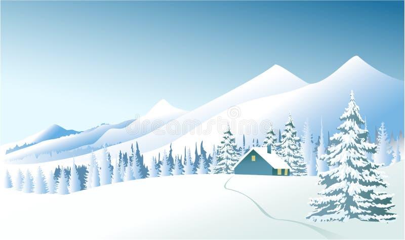 Τοπίο χειμερινής χώρας ελεύθερη απεικόνιση δικαιώματος