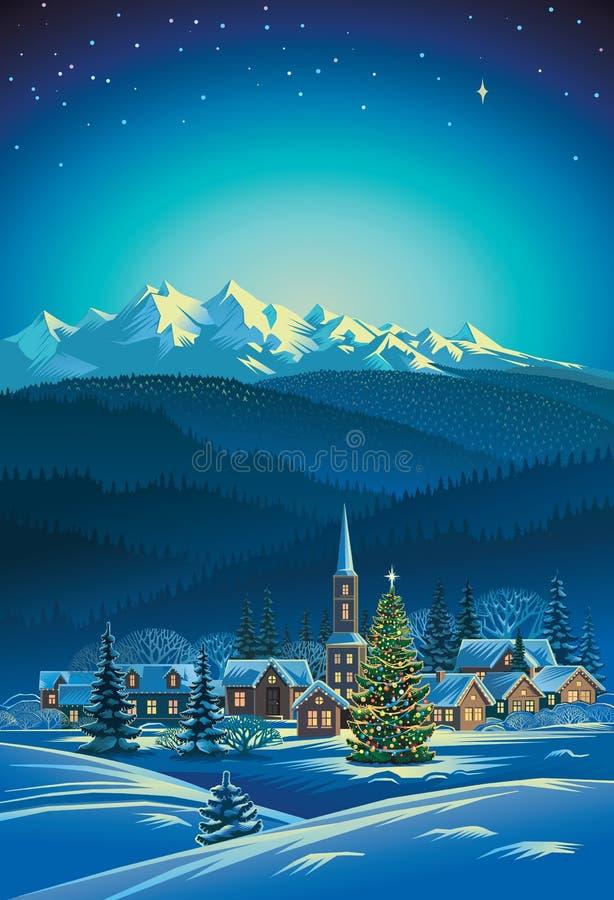 Τοπίο χειμερινών αγροτικό διακοπών διανυσματική απεικόνιση