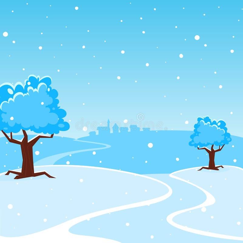 Τοπίο χειμερινών κινούμενων σχεδίων διανυσματική απεικόνιση