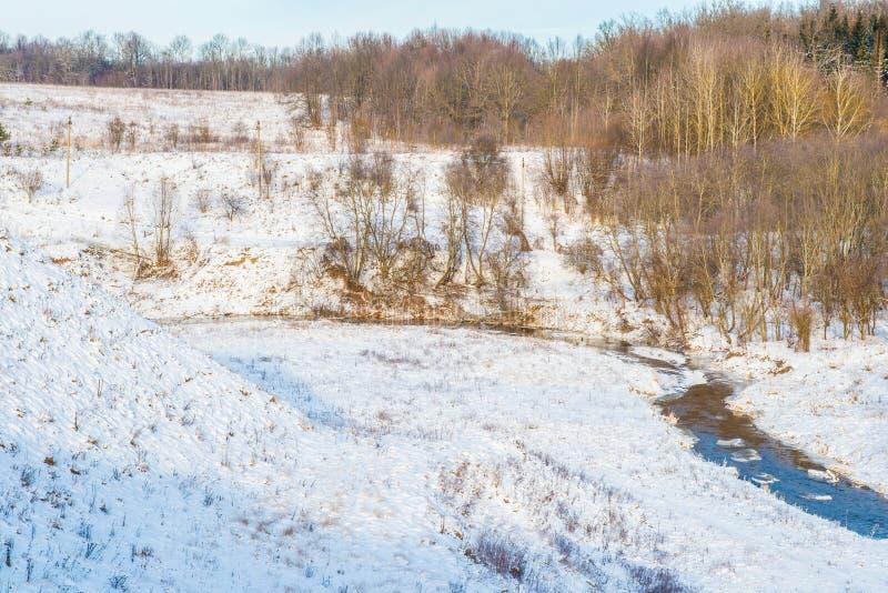 Τοπίο χειμερινών ποταμών στοκ εικόνες με δικαίωμα ελεύθερης χρήσης