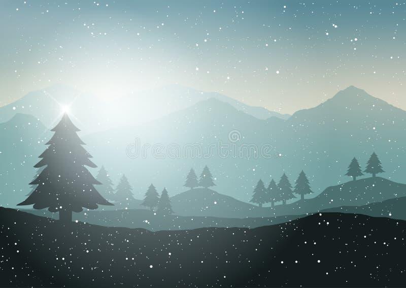 Τοπίο χειμερινών χριστουγεννιάτικων δέντρων διανυσματική απεικόνιση