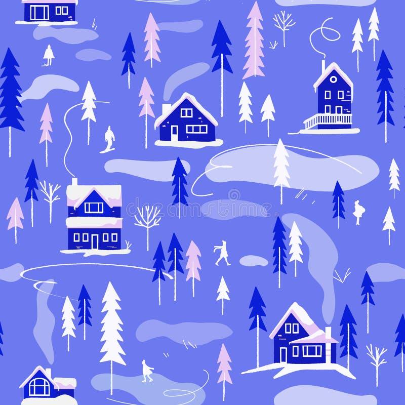 Τοπίο χειμερινών χωριών άνευ ραφής διάνυσμα προτύπων απεικόνιση αποθεμάτων