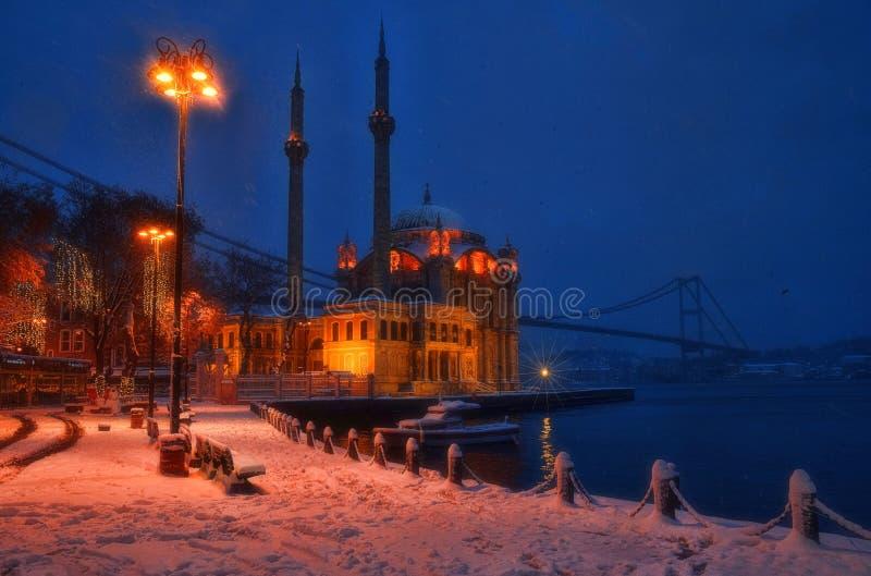Τοπίο χιονιού από Ortakoy Ιστανμπούλ στοκ εικόνες