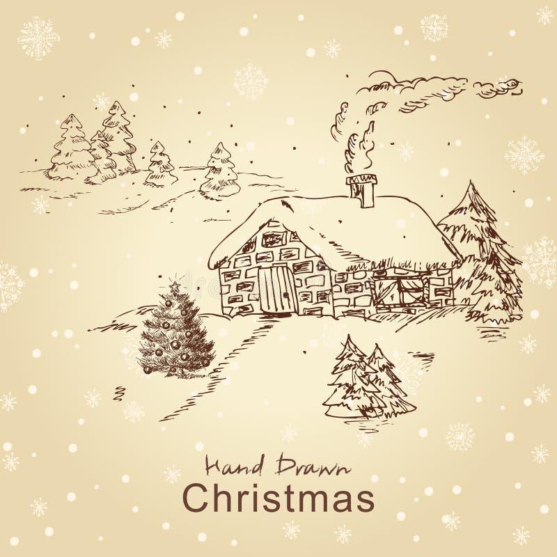 τοπίο Χριστουγέννων καρτώ&n απεικόνιση αποθεμάτων