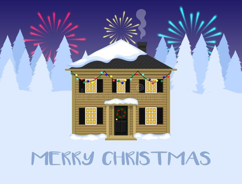 Τοπίο Χριστουγέννων, σπίτι με τις διακοσμήσεις Χριστουγέννων απεικόνιση αποθεμάτων