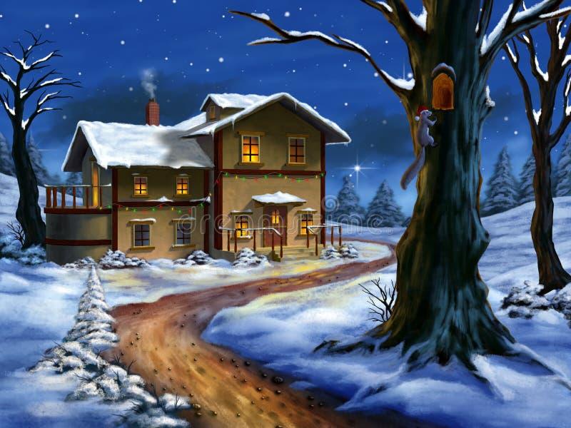 τοπίο Χριστουγέννων διανυσματική απεικόνιση