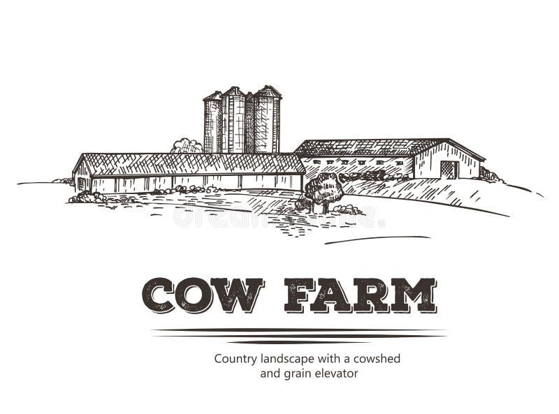 Τοπίο χώρας με το αγρόκτημα σιταποθηκών και αγελάδων διανυσματική απεικόνιση