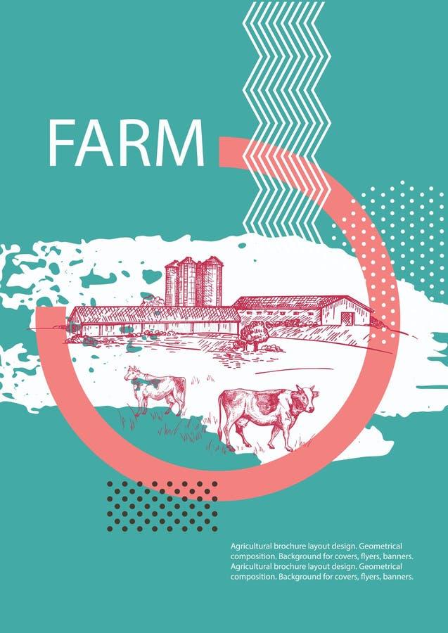 Τοπίο χώρας o Αγελάδες, σιταποθήκη και σιταποθήκη απεικόνιση αποθεμάτων