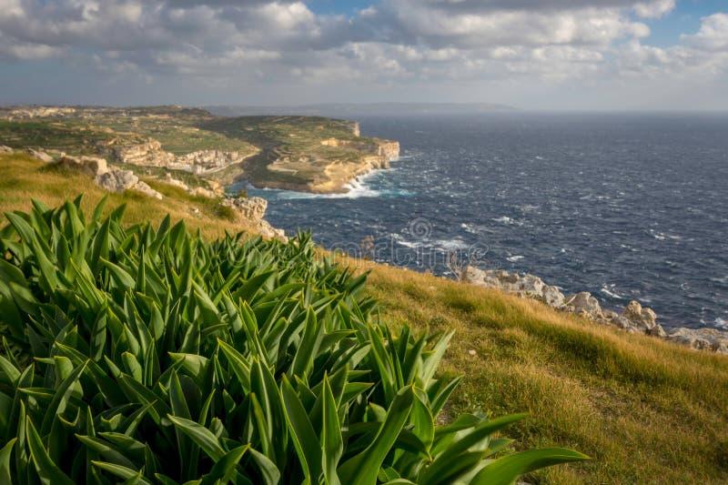 Τοπίο Gozo, άποψη στον κόλπο Xlendi και τη Μάλτα, χειμώνας στοκ εικόνες
