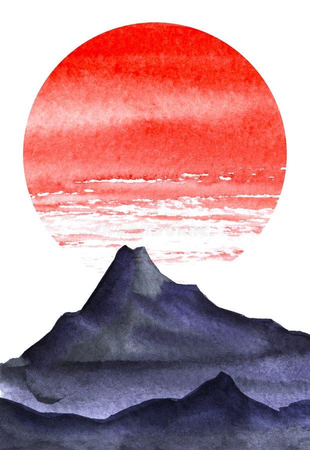 Τοπίο Minimalistic Σκοτεινή σκιαγραφία των υψηλών βουνών Φωτεινός κόκκινος κύκλος του ήλιου διανυσματική απεικόνιση