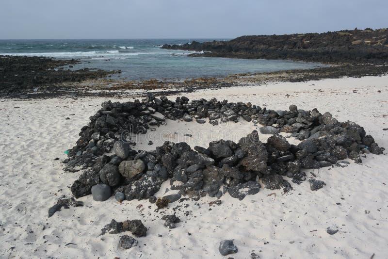 Τοπίο Orzola, Lanzarote, νησί canarias στοκ εικόνα