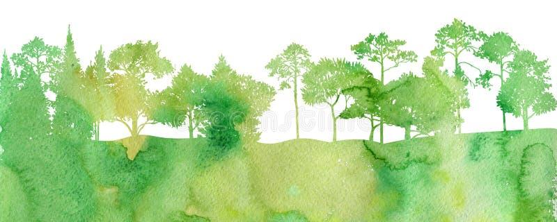 Τοπίο Watercolor με τα δέντρα απεικόνιση αποθεμάτων