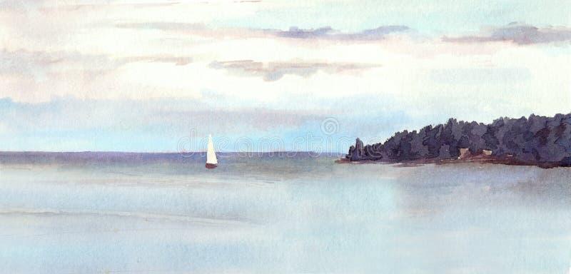Τοπίο Watercolor - νησί, ουρανός με τα σύννεφα και άσπρο πανί απεικόνιση αποθεμάτων