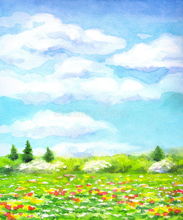 Τοπίο Watercolor της σειράς διανυσματική απεικόνιση