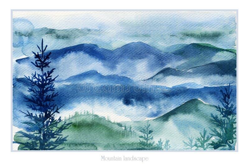 Τοπίο Watercolor των βουνών και των δέντρων έλατου απεικόνιση αποθεμάτων