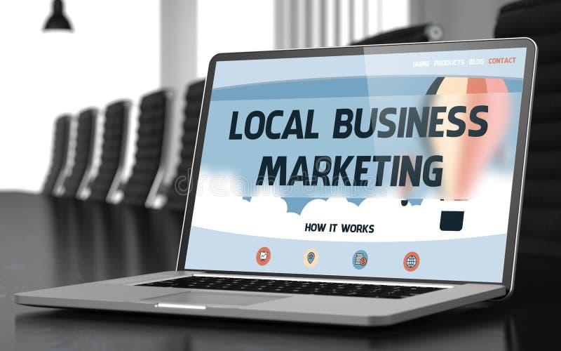 Τοπική έννοια επιχειρησιακού μάρκετινγκ στην οθόνη lap-top τρισδιάστατος απεικόνιση αποθεμάτων