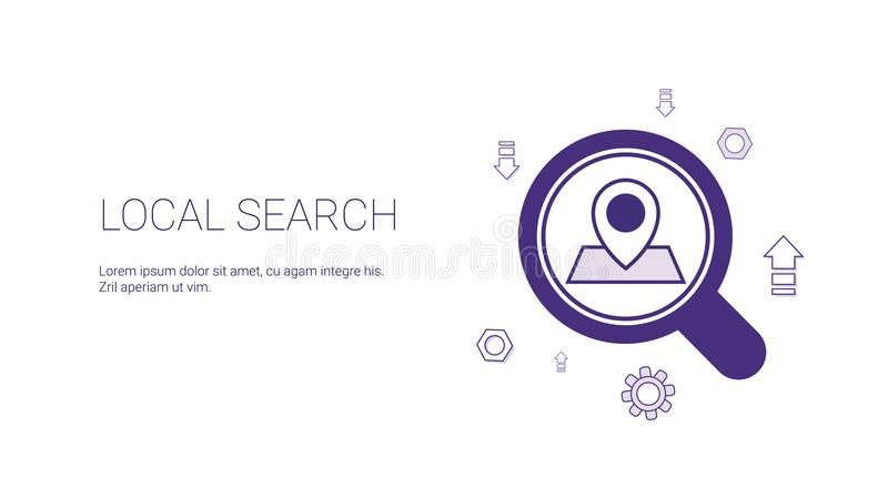 Τοπικό έμβλημα Ιστού αναζήτησης με τη διαστημική έννοια εμπορικής στρατηγικής Seo αντιγράφων απεικόνιση αποθεμάτων
