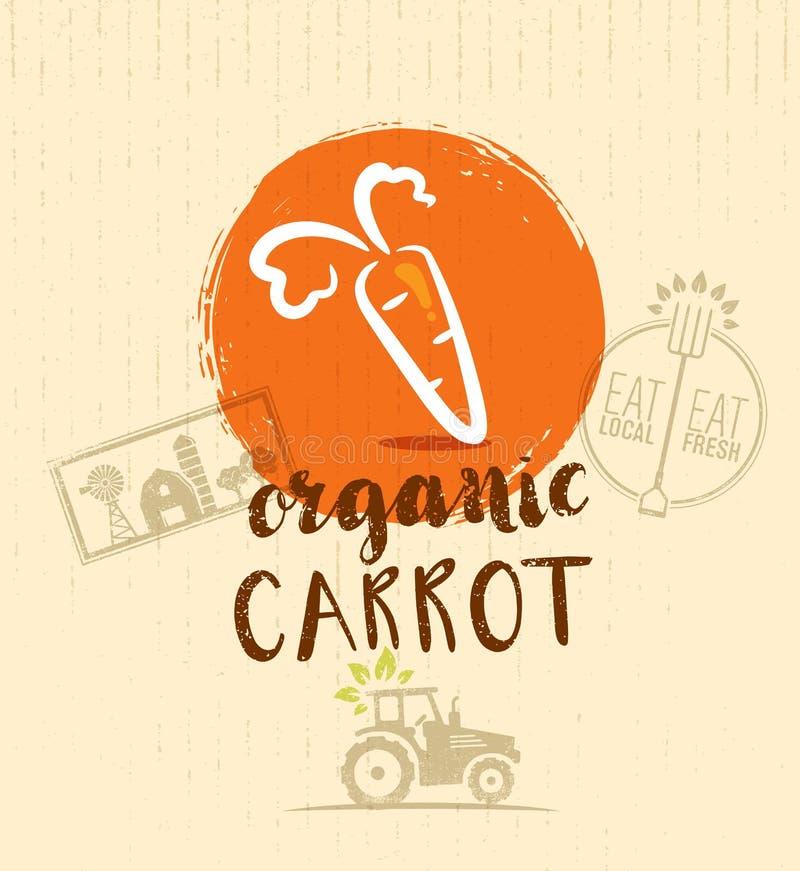 Τοπικό αγροτικό καρότο Συρμένο χέρι οργανικό φυτικό στοιχείο σχεδίου Eco επίσης corel σύρετε το διάνυσμα απεικόνισης ελεύθερη απεικόνιση δικαιώματος