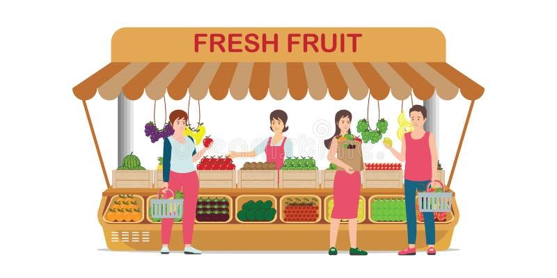 Τοπικό κατάστημα φρούτων αγροτικής αγοράς με τον πωλητή φρούτων απεικόνιση αποθεμάτων