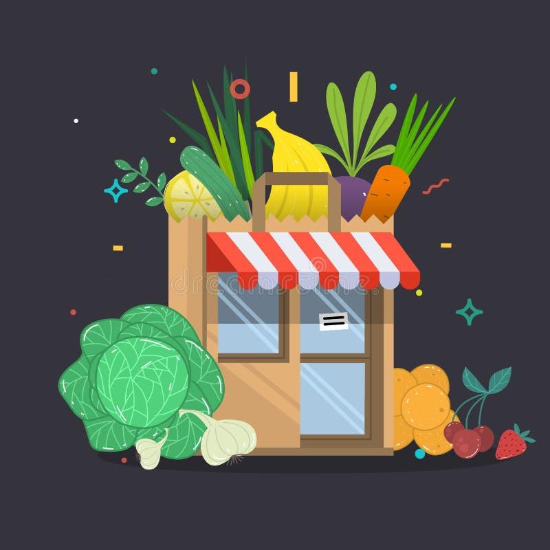 Τοπικό κτήριο καταστημάτων φρούτων και λαχανικών Κλουβιά παντοπωλείων μπροστά από το storefront διανυσματική απεικόνιση