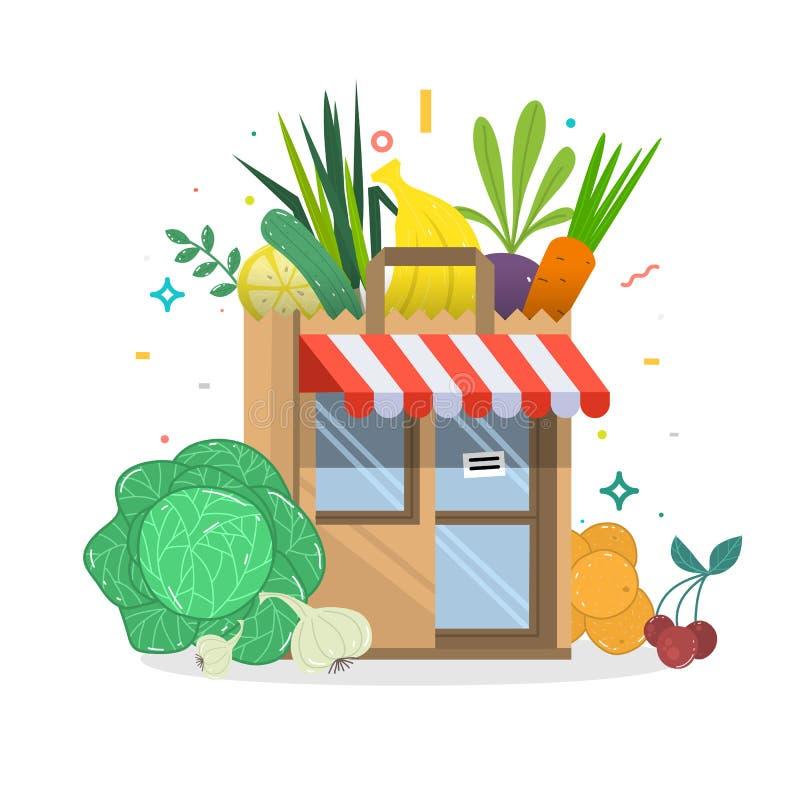 Τοπικό κτήριο καταστημάτων φρούτων και λαχανικών Κλουβιά παντοπωλείων μπροστά από το storefront απεικόνιση αποθεμάτων