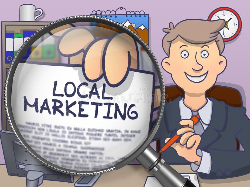 Τοπικό μάρκετινγκ μέσω του φακού Σχέδιο Doodle διανυσματική απεικόνιση