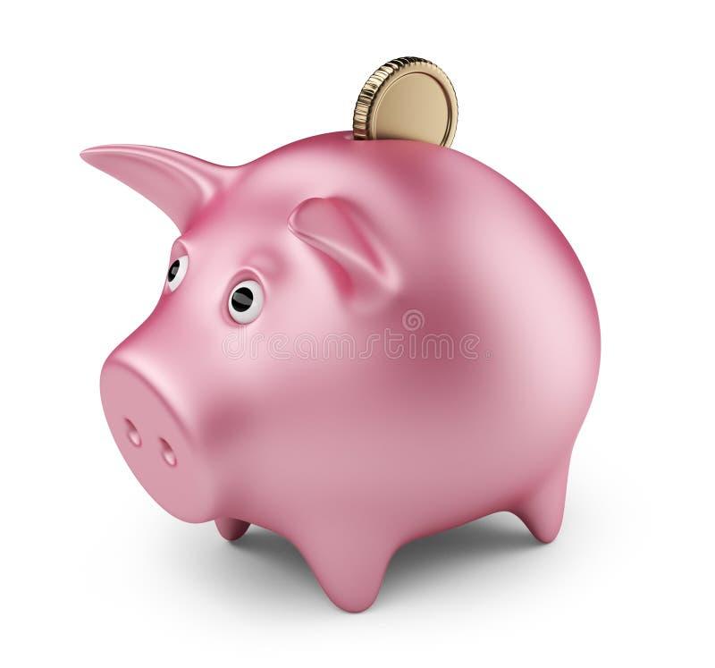 Τοποθέτηση του νομίσματος στη piggy τράπεζα. τρισδιάστατο εικονίδιο   απεικόνιση αποθεμάτων