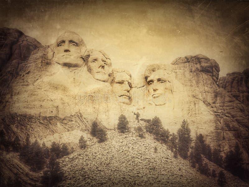 Τοποθετήστε το εθνικό μνημείο Rushmore, νότια Ντακότα, Ηνωμένες Πολιτείες, grunge έκδοση της φωτογραφίας μου στοκ εικόνες