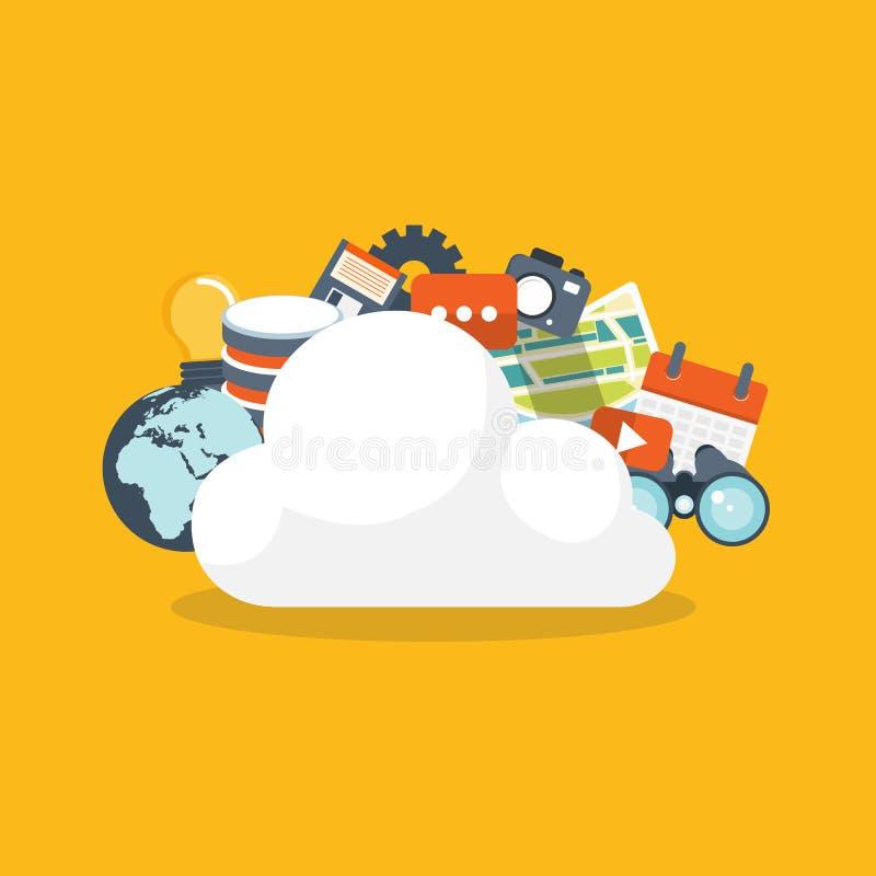 τοποθετημένα lap-top στοιχεία συμπεριφοράς έννοιας υπολογισμού υπολογιστών επικοινωνίας σύννεφων Τεχνολογία δικτύων αποθήκευσης σ απεικόνιση αποθεμάτων