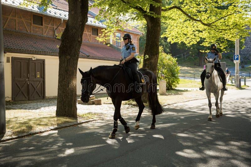Τοποθετημένοι θηλυκό αστυνομικοί που ελέγχουν τη διαταγή στοκ φωτογραφία με δικαίωμα ελεύθερης χρήσης
