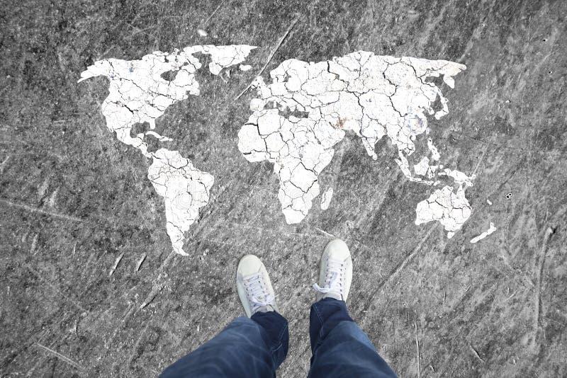 Τοπ άποψη έννοιας ενός χάρτη ατόμων και κόσμων στοκ φωτογραφία