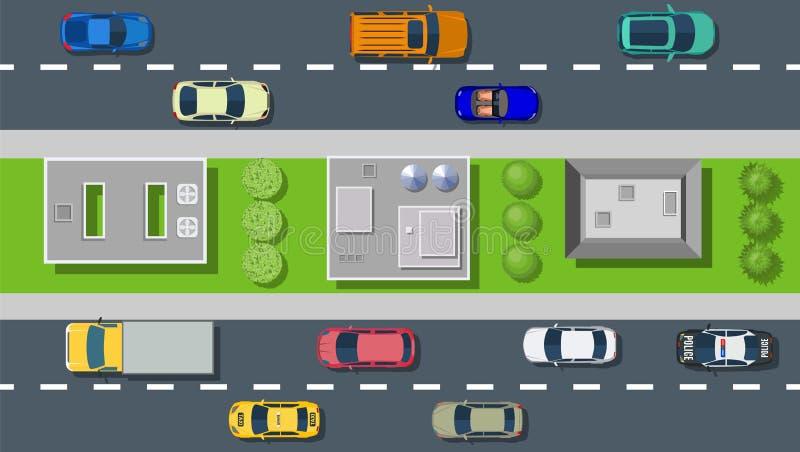 Τοπ άποψη από την οδό πόλεων ελεύθερη απεικόνιση δικαιώματος