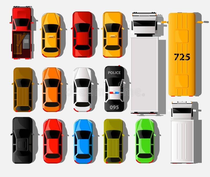 Τοπ άποψη αυτοκινήτων Εικονίδια μεταφορών οχημάτων πόλεων καθορισμένα Αυτοκινητικό αυτοκίνητο για τη μεταφορά διανυσματική απεικόνιση
